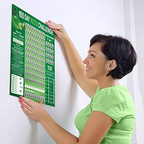 100 Day Keto Challenge Scratch Off Poster. The Perfect Planner for Keto Diet Made Easy with This Friendly Tracker Chart. Keto Accessories to Help You Lose Fat on LCHF Diets. 3