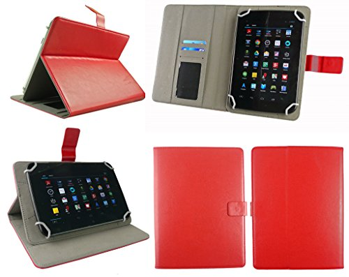 51Ai7virVjL Emartbuy Smart Hard Back Flip Stand Wallet Cover for Amazon Fire HD 7 Tablet : Size (7-8 Inch) - Red Plain