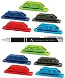 10 Pack Assorted Colors Pen Pal Pen Holders with Custom Advantage Black and Chrome Retractable Pen