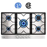 Gas Cooktop, Gasland chef GH90SF Built-in Gas Stove Top, Stainless Steel LPG Natural Gas Cooktop, Gas Stove Top with 5 Sealed Burners, ETL Safety Certified, Thermocouple Protection, Easy To Clean