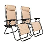Bonnlo Infinity Zero Gravity Chair, Outdoor Lounge Patio Chairs with Pillow and Utility Tray Adjustable Folding Recliner for Deck,Patio,Beach,Yard Pack 2 (Khaki)
