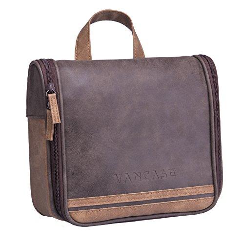 Hanging Toiletry Bag for Men VANCASE Vintage Leather Shaving Dopp Kit...