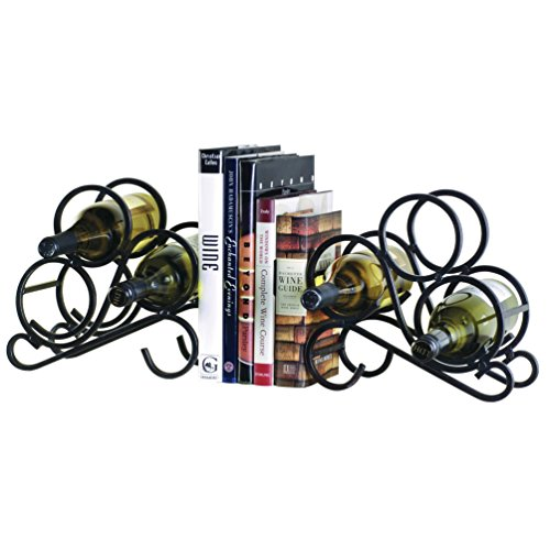 Black Iron Scroll Bookend Wine Racks