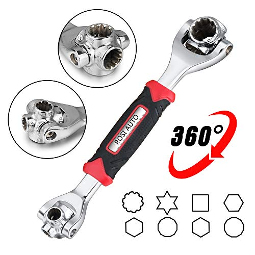 ROSI Socket Wrench 48 in One Tiger Wrench with 8 Corners,360-Degree Rotating Head,Rubber Handle Great for Spline Bolts,6-Point,12-Point,Torx,Square Damaged Bolts and Any Size Standard or Metric