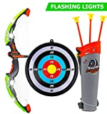 Toysery Bow and Arrow for Kids with LED Flash Lights - 13-inch Archery Bow with 3 Suction Cups Arrows, Target, and Quiver - Practice Outdoor Toys for Children Above 3 Years of Age