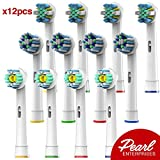 Pearl Enterprises Oral B Braun Compatible Replacement Brush Heads - Pack Of 12 Electric Toothbrush Assorted Heads - Try Them All You'll Find Your Favorite