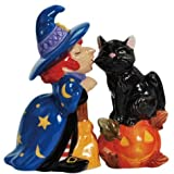 4 inch Witch Kissing Cat Halloween Decorated Salt And Pepper Shakers