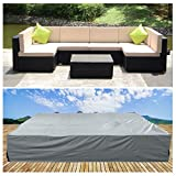 U-MAX Extra Large Rectangular Table Patio Furniture Covers Rattan Furniture Covers for Outdoor 7 Pcs Furniture Patio Set