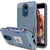 LG Zone 4 / Aristo 2 / Tribute Dynasty / K8 2018/ V3 2018 Case With Phone Stand,Ymhxcy [Credit Card Wallet Slots Holder] Hybrid Dual Layer Protective Cover Shell For LG X210MA/ X210-LCK Metal Slate