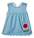 Sweety Girls' Pleated Plaid Panel Trim & Ribbon Belt Short Sleeve Trapeze Dress, Blue 18-24 Months