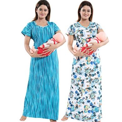 TUCUTE Women Beautiful Print with Invisible Zip + Floral Print Feeding/Maternity/Nursing Nighty/Night Gown/Night Dress/Nightwear (Free Size) (Pack of 2 Pcs) 13