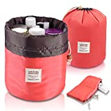 Foldable Round Bucket Style Travel Make-up Bag, Small Zipper Jewelry Purse, Clear PVC Pouch for Cosmetic Brush, Drawstring Closure Nylon Organizer Carrying Case Holder, Wash Toiletry Bag Coral Red