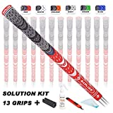 SAPLIZE Golf Grips(13 Grips with regriping kit), Cord Rubber, CL03 Golf Club Grips, Standard Size, Red