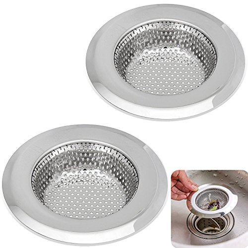 Kitchen Sink Strainer - 4.5 Inch Dia - Set of 2 Sink Strainers - Stainless  Steel Sink Drain Cover - Perfect Fit for Almost All US Kitchen Sinks, No ...