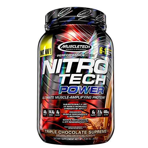 Muscletech Performance Series Nitrotech Power Post Workout, 60g Protein, 14.8g BCAAs, 8g Leucine, 6g Creatine 2.5 Betaine) – 2 lbs (907 g) Triple Chocolate Supreme