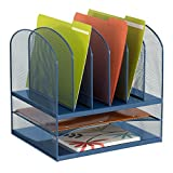 Safco Products 3255BU Onyx Mesh Desktop Organizer with 6 Vertical/ 2 Horizontal Sections, Blue