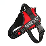 Just 4 Paws Emotional Support Dog Harness Jacket with Padded Handle | 6 Sizes | Adjustable Straps & 2 Removable Reflective Patches (Small-Chest 19-1/2' to 25', Red)