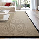 iCustomRug Zara Synthetic Sisal Collection Rug and Runners, Softer Than Natural sisal Rug, Stain Resistant & Easy to Clean Beautiful Border Rug in Black 8'6 x 12'