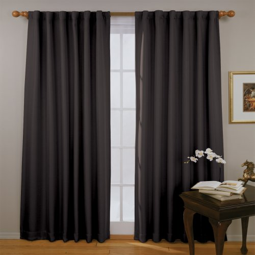 ECLIPSE Blackout Curtains for Bedroom - Fresno 52' x 84' Insulated Darkening Single Panel Rod Pocket Window Treatment Living Room, Black