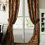 IYUEGO Luxury European Style Jacquard Silky Heavy Fabric Grommet Top Lining Blackout Curtains Drapes with Multi Size Custom 50' W x 63' L (One Panel)