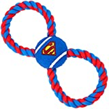 Dog Toy Rope Tennis Ball Superman Shield Blue Blue Red Rope