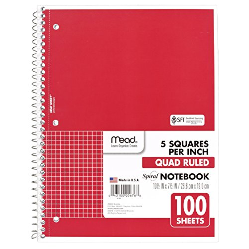 Mead Spiral Notebook, 1 Subject, Quad Ruled Paper, 100 Sheets, 10-1/2
