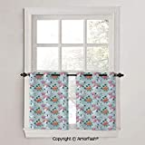 PUTIEN Asian Cafe Curtains Lattice Kitchen Window Curtain Sets for Bathroom,2 Panels,W42 x L18-Inch,Watercolor Cranes and Flowers Hand Drawn Chinese Inspired Elements Vintage Image Decorative