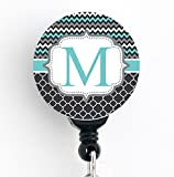 M Initial Chevron Trellis - Retractable Badge Reel with Swivel Clip and Extra-Long 34 inch Cord - Badge Holder