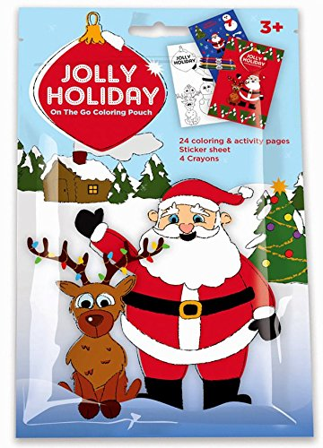 Santa Christmas Coloring Activity Pack with Stickers, Crayons and Coloring Activity Book in a Resealable Pouch