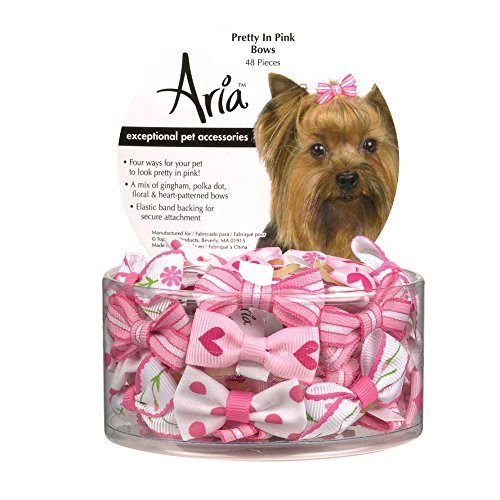 Aria Pretty In Pink Bows for Dogs, 48-Piece Canisters 1