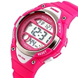 Watches,Kids Outdoors Waterproof Wristwatch,Multifunctional LED Digital Watch for Boys Girls (Rosered)