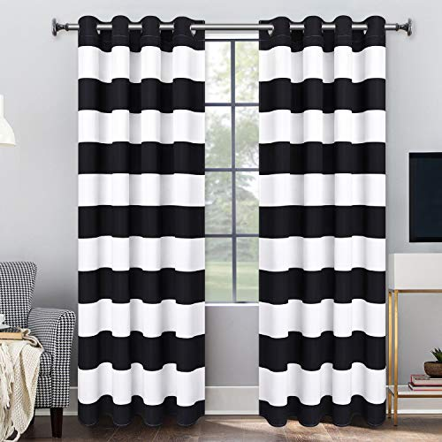 Striped Black White Curtains