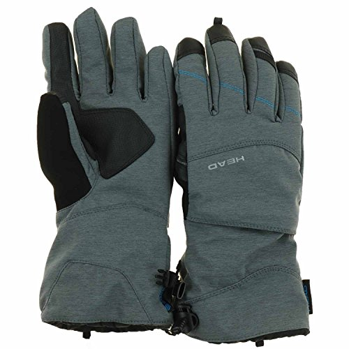 Head Womens DuPont Sorona Insulated Ski Glove With Pocket (Small, Grey Heather/Blue)