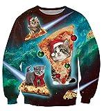 uideazone Ugly Cat Eat Pizza Shirt Women Men Christmas Pullover Sweatshirts X-mas Gift W5 Asia XXL= US XL
