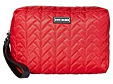 Steve Madden Embossed Double Zip Cosmetic Bag Red One Size
