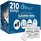 Care Touch Lens Cleaning Wipes, Pre Moistened Cleansing Cloths Great for Eyeglasses, Tablets, Camera Lenses, Screens, Keyboards and Other Delicate Surfaces - 210 Individually Wrapped Wipes