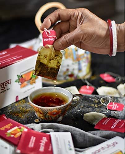 SANTULYA Organic Turmeric + Tulsi + Moringa Herbal Tea for Detox & Immunity (100 Tea Bags) 5