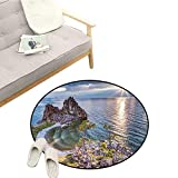 Travel Living Room Rugs Shaman Rock Lake Baikal in Russia Coastal Theme Sun Rays Scenic Vista Print Easy to Clean D51 Green Brown Blue
