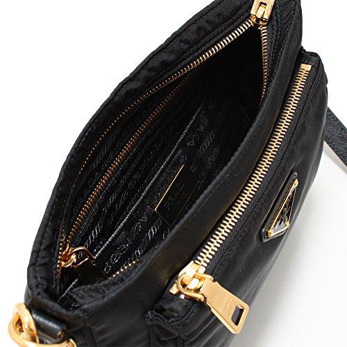 892944fe73cac6 Prada Women's Tessuto Saffian Crossbody 1BH693 Black - Fashion