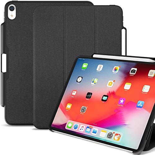 KHOMO iPad Pro 12.9 Inch Case 3rd Generation (Released 2018) with Pen Holder - Dual Black Super Slim Cover - Support Pencil Charging
