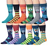 James Fiallo Mens 12 Pairs Funny Faces Striped Colorful Crew Socks, Fits shoe 6-12 (sock size 10-13), M182-12
