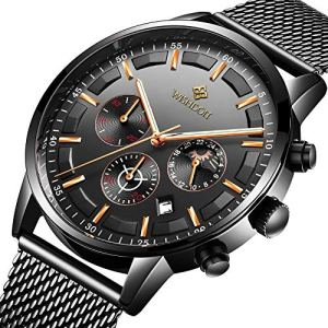 Men's Watches Fashion Analog Quartz Watch Date Business Chronograph Dress Luxury Brand Black Leather Wristwatch Gents Sport Waterproof Wristwatch 1 🛒 Fashion Online Shop gifts for her gifts for him womens full figure