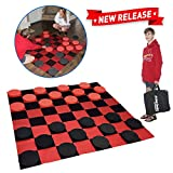EasyGo Giant Checkers Game - Indoor Outdoor - Family Game - Lawn Game - 5 Feet X 5 Feet
