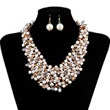 IPINK Fashion Women Big Faux Pearl Multi Strand Chunky Evening Jewelry Set