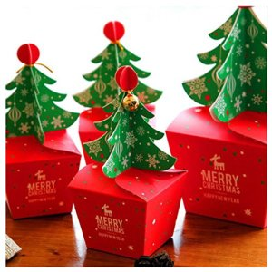 Rzctukltd 10PCS Christmas Party Paper Favour Gift Cupcake Xmas Sweets Carrier Bags Boxes (Xmas Tree Bell) 51BByCKmC1L