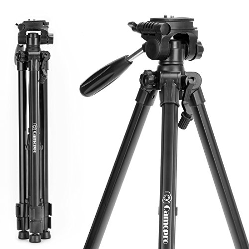 Tripod for Camera – Camopro Lightweight Aluminum Alloy Portable Travel Tripod with Carry Bag for SLR DSLR Camcorder Camera Video DV Lenses Camcorders GoPro devices Microphones – Tripod