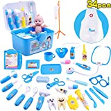 iPlay, iLearn 34 Piece Deluxe Kids Pretend Play Doctor n Dentist Toy Set, Medical Kit w/ Doll, Electronic Stethoscope, Roleplay Costume, Birthday Gift for 2, 3, 4, 5 Year Olds, Toddlers, Boys , Girls