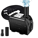 Winkeyes Fountain Pump 200GPH with 63' Lift, 15W Small Submersible Fountain Water Pump for Outdoor Indoor Tabletop Water Fountain, Aquarium, Fish Tank, Hydroponic, Pond, 6ft Power Cord, 2 Nozzles