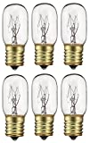 6 Pack 40 Watts Microwave Replacement Bulb for Most Ge Ovens Replaces Part WB36X10003 , 40T8 E17 Base Appliance Light Bulb MOL 2.5 '
