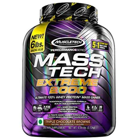 Muscletech Performance Series Mass Tech Extreme 2000 (3g Creatine, 8.2g Leucine, 20 Vitamins & Minerals) – 6lbs (2.72kg) (Triple Chocolate Brownie)